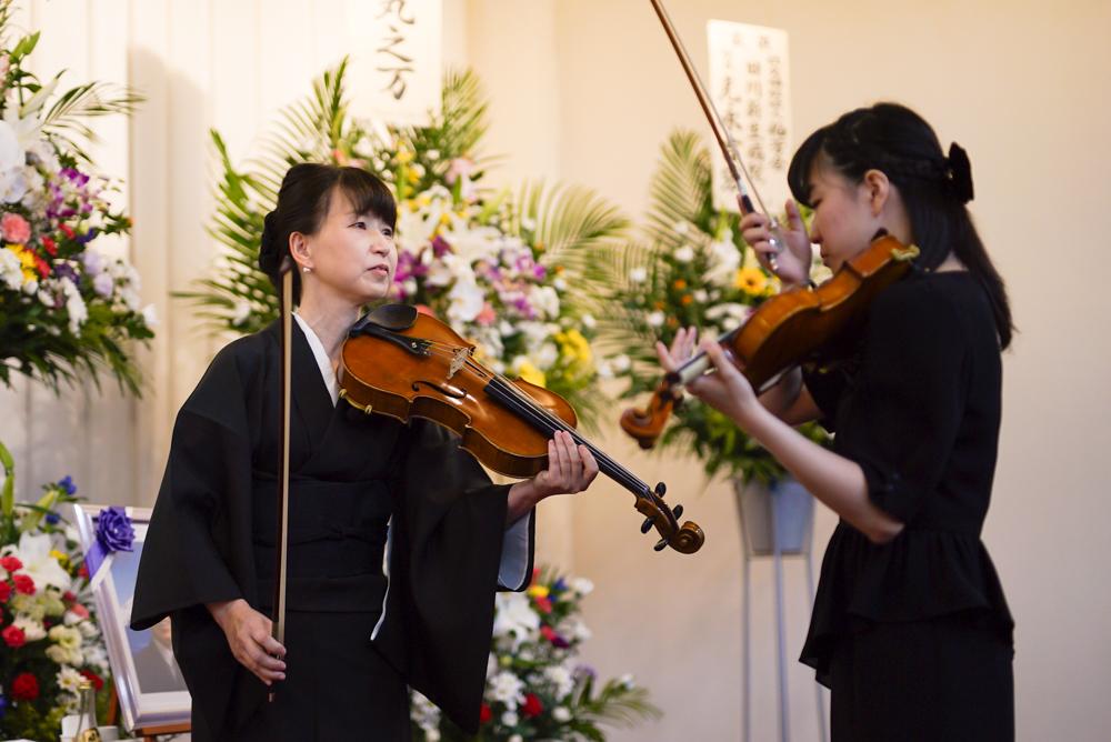 お葬式バイオリンの演奏