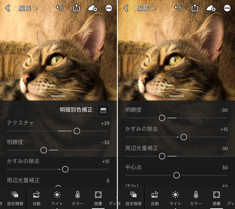 Adobe Lightroomモバイル無料版現像3